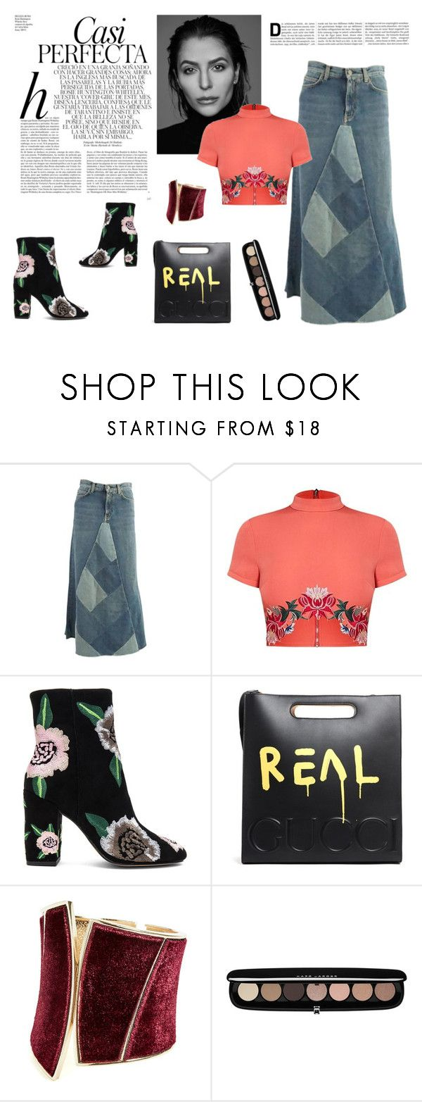 """""""long denim skirt"""" by denisahad ❤ liked on Polyvore featuring Gabriella, Whiteley, Yves Saint Laurent, Rebecca Minkoff, Gucci, GUESS by Marciano and Marc Jacobs"""