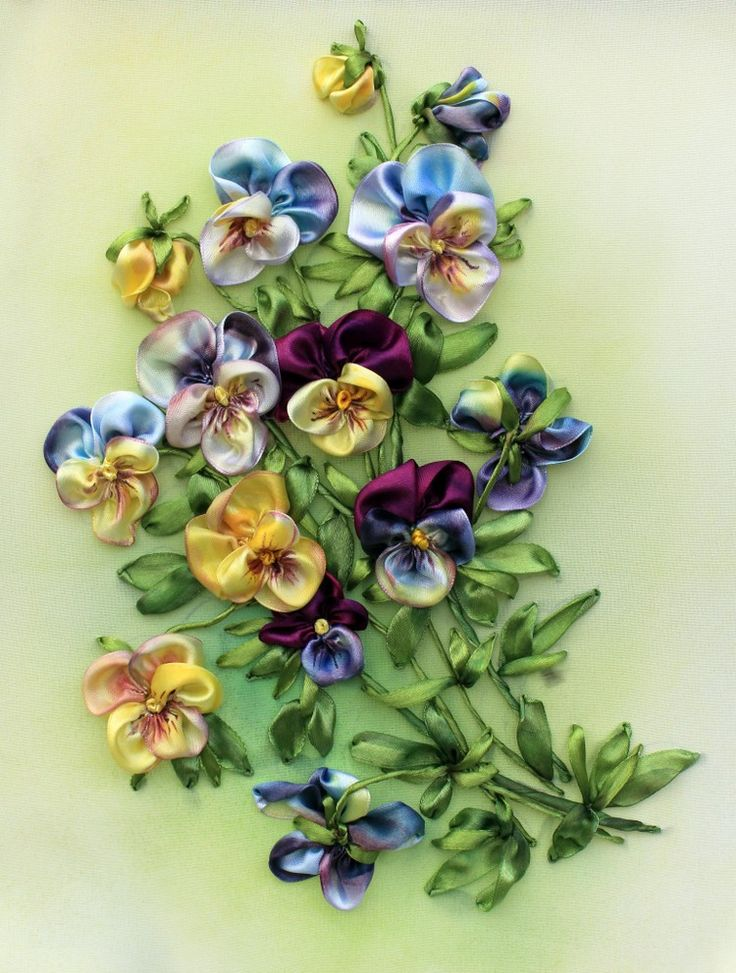 silk ribbon embroidered pansies