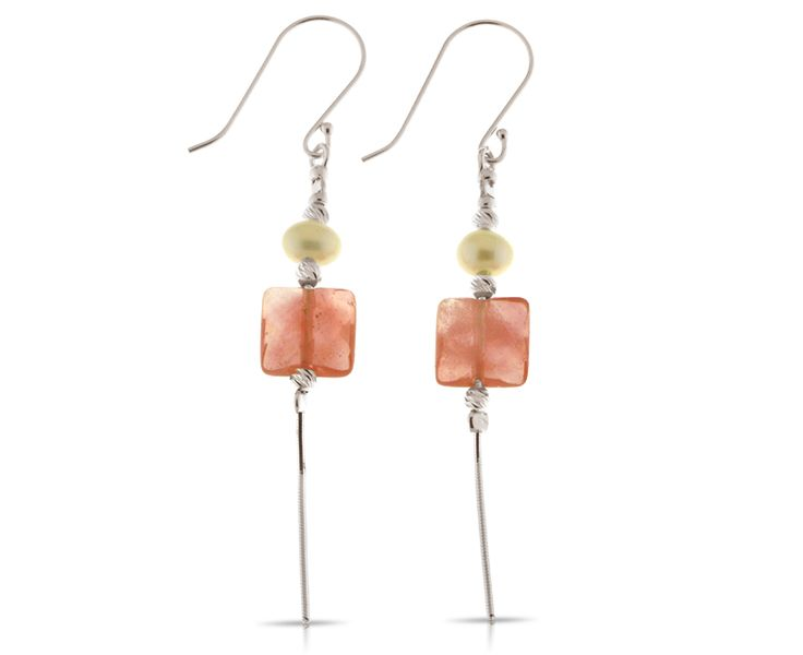 925 Sterling Silver Dangly Earrings adorned with Cultured Pearl and Cherry Quartz