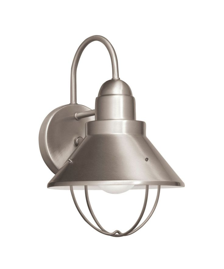 Kichler nickel seaside 1 light energy efficient fluorescent outdoor wall light brushed nickel from seaside collection