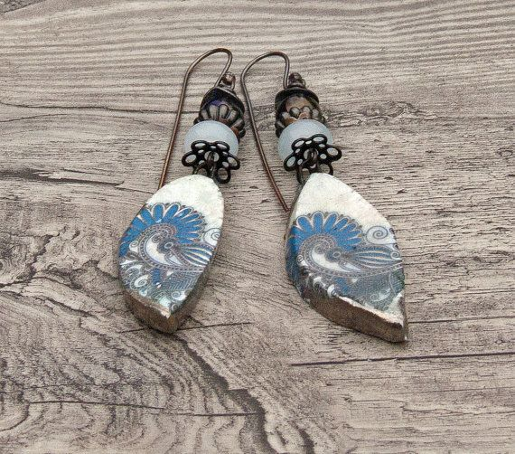 was now blue rustic tribal artisan earrings ceramic lampwork gemstone earrings art bead earrings scorched earth amy hall