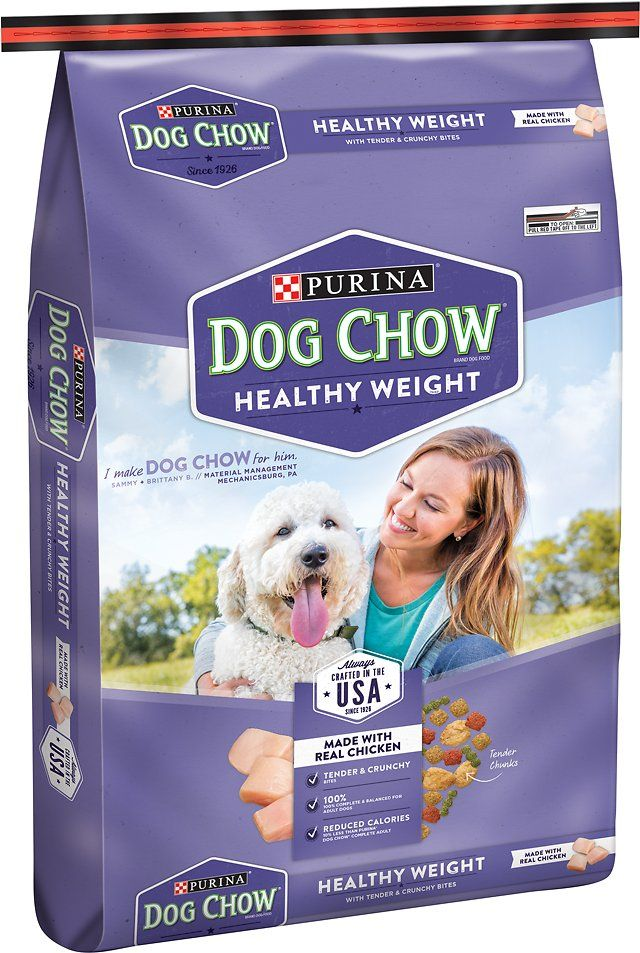 Dog Chow Healthy Weight with Real Chicken Dry Dog Food is carefully crafted in the USA by Purina's own employees who are dedicated to making sure every bag meets our high quality standards. They don't just make Dog Chow, they trust it enough to feed it to their own dogs every day. Purina Dog Chow Healthy Weight is made with real chicken and a taste dogs love to keep your dog happy while supporting a healthy weight.