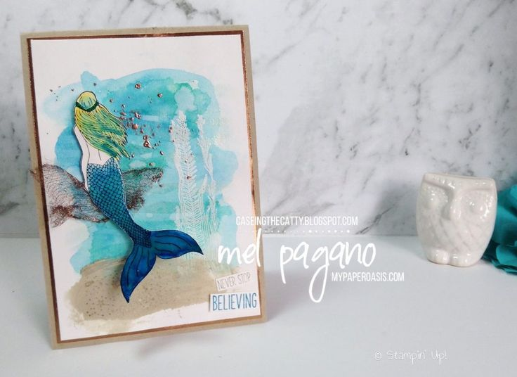 CTC 133 - Love and Sympathy using Magical Mermaid by Mel Pagano at My Paper Oasis, watercolored backgrounds, stampin up, embossing paste