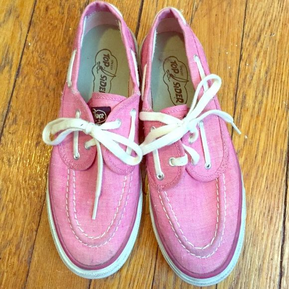 Pink sperry top sider Cute pink sperry top-siders. They have a little dirt on them but in really good condition Sperry Top-Sider Shoes Flats & Loafers