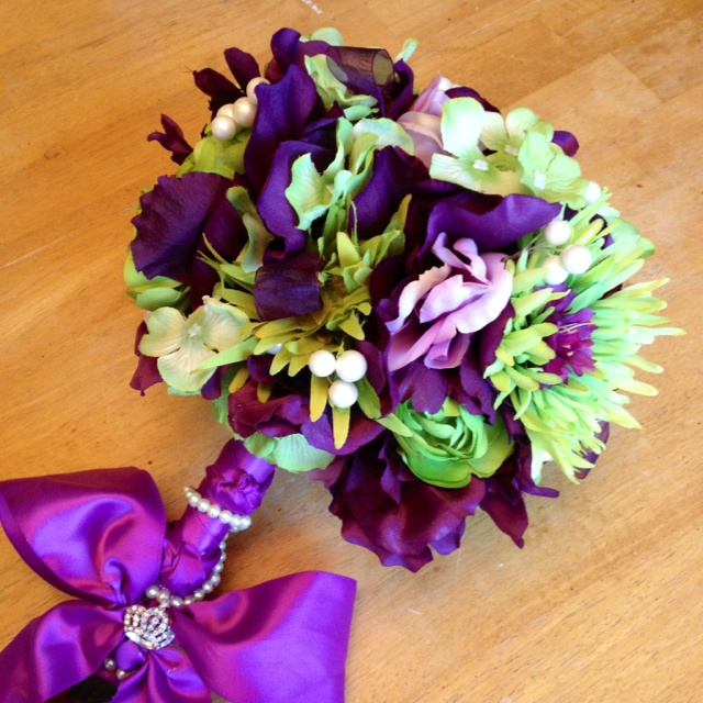 Purple and lime green bouquet!