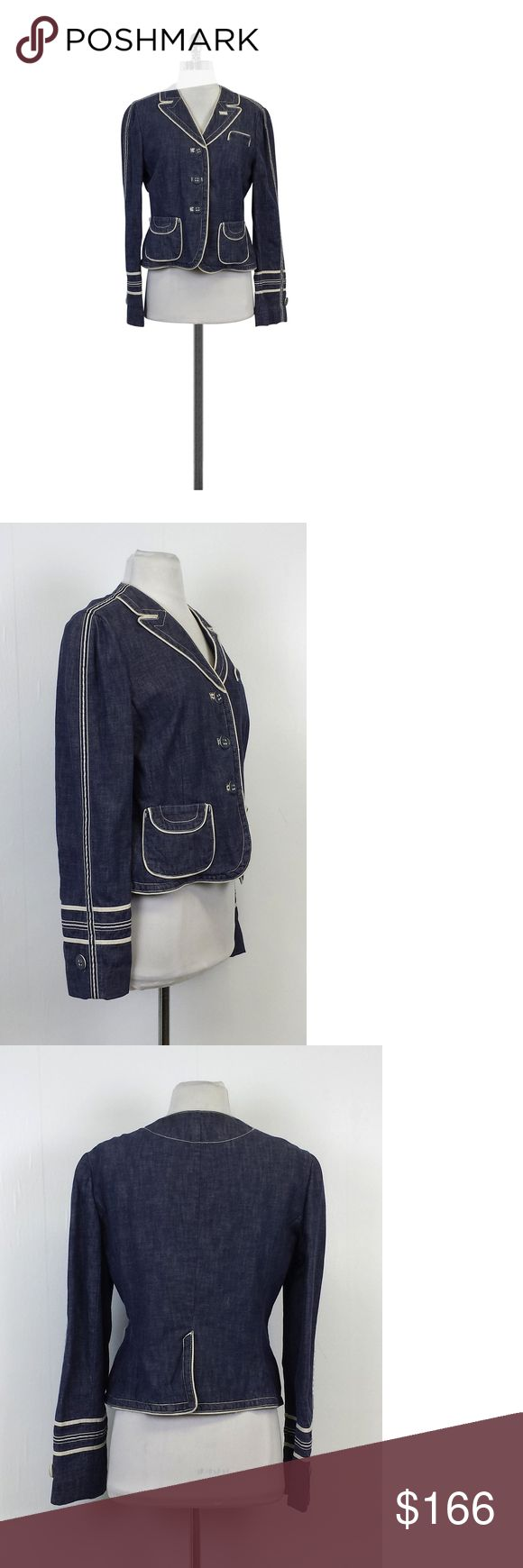 """Marc Jacobs- Blue Denim Jacket Sz 12 This blue denim jacket with white trims is perfect for the office. Wear it with a colorful pencil skirt and pumps! Size 12 Body 100% Cotton Buttons on front Side pockets White trims Shoulder to Hem 21.5"""" Marc Jacobs is an American born fashion designer who creates Italian-inspired women's and men's wear. His ready-to-wear collections and handbags are as popular as his couture collections. He is recently known for his charity work as well. Marc Jacobs…"""