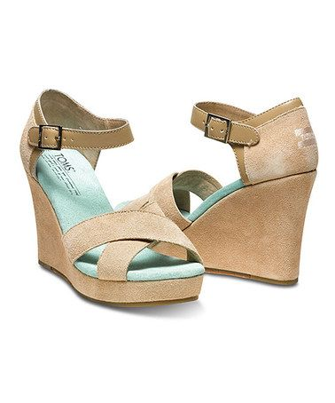Love this Nude & Mint Wedge Sandal by TOMS on #zulily! #zulilyfinds