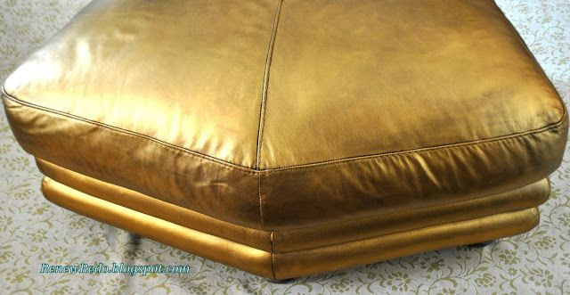 gold leather rub n buff ottoman makeover renew redo