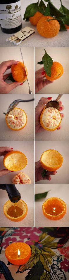 "DIY satsuma candle. All you need is vegetable/olive oil and an orange.  ""Well, I'll be!"" Isn't that adorable, and easy?"