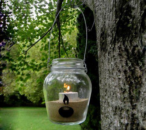Luces colgantes | frascos con velas