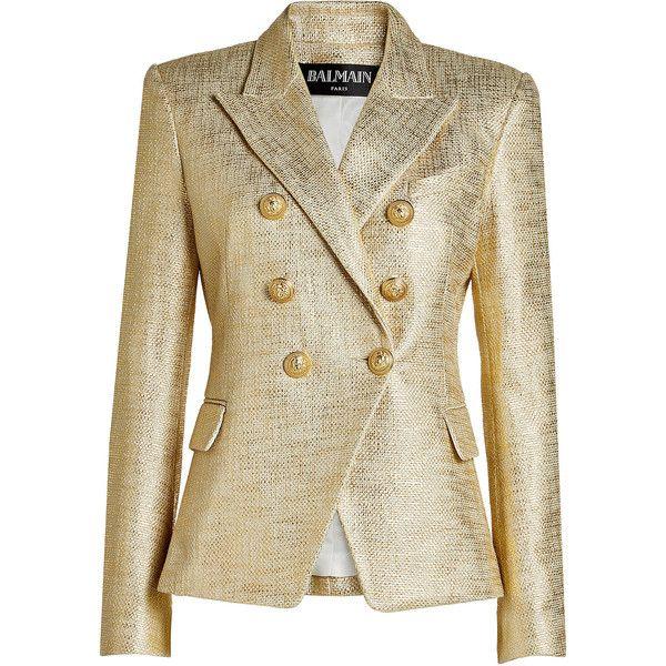 Balmain Metallic Blazer (81.950 RUB) via Polyvore featuring outerwear, jackets, blazers, balmain blazer, lapel jacket, gold jacket, one-button blazer и gold button blazer