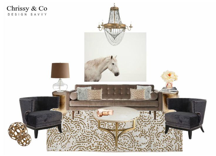 Client Conceptual: Design By Chrissy & Co Design Savvy. Large art, chandelier, marble and brass occasional table and area rug.