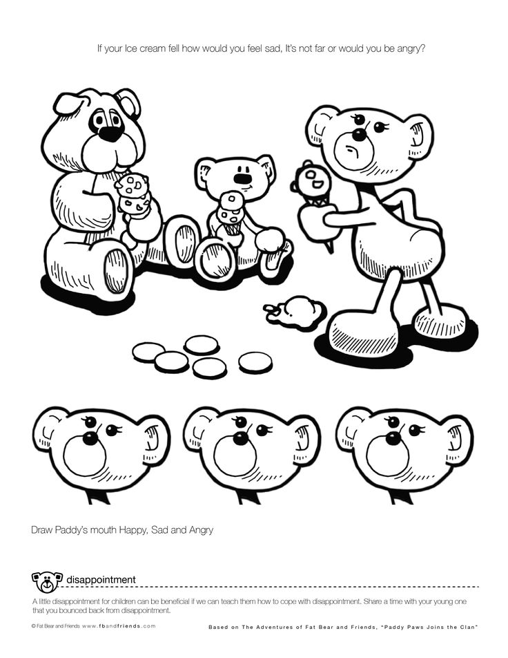 "Emotional Growth Activity Sheets Disappointment  ""If your Ice cream fell how would you feel  sad, It's not far or would you be angry?""  A little disappointment for children can be beneficial if we can teach them how to cope with disappointment. Share a time with your young one that you bounced back from disappointment."
