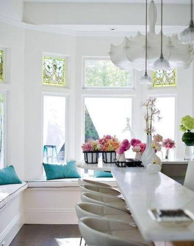 : Dining Rooms, Breakfast Nooks, Windowseat, House, Bar Stools, Window Seats, Bays Window, White Kitchens, Stained Glasses