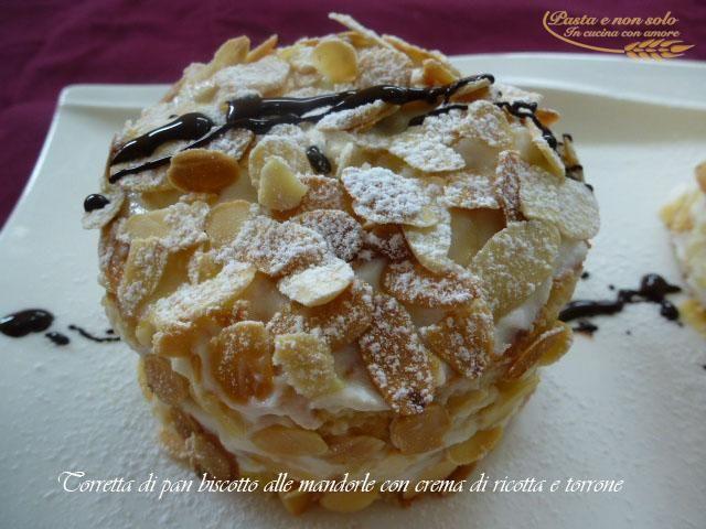 Torretta pan biscotto con crema di ricotta e torrone