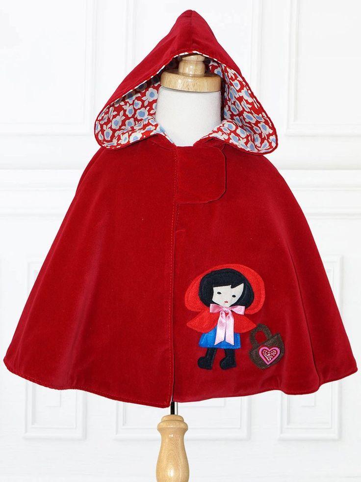 MAISIE - Girls Reversible Cape Pattern, Little Red Riding Hood Applique