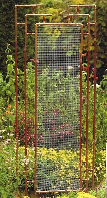 Trellis made from copper pipe and wire mesh