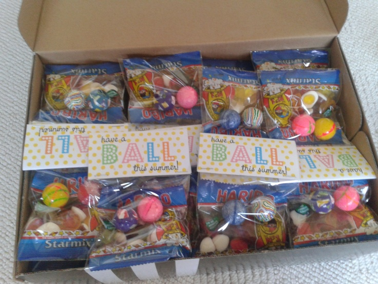 End of term present for children at school. Free printable labels here http://www.scribd.com/doc/92636427/Have-a-BALL-this-summer