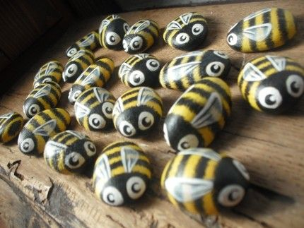 Bumble Bee Rocks add lady bugs or strawberries and make tic tac toe board or checkers