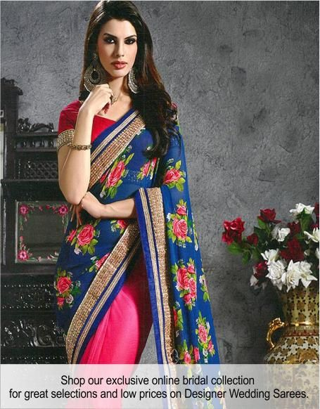 Shop our exclusive collection of beautiful wedding and bridal sarees. Get up to 50% off + free shipping on orders over $75. #wedding #bridal #sarees #Shingar21