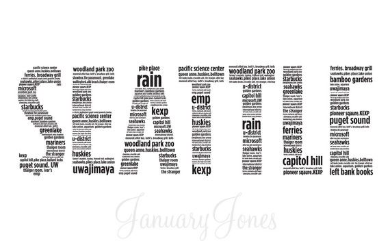 Seattle in words art print poster wall decor :: Great Idea, but different words