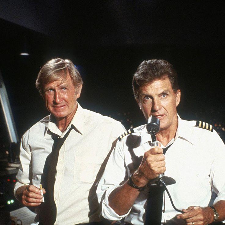 """Lloyd Bridges y Robert Stack en """"Aterriza Como Puedas"""" (Airplane!), 1980"""