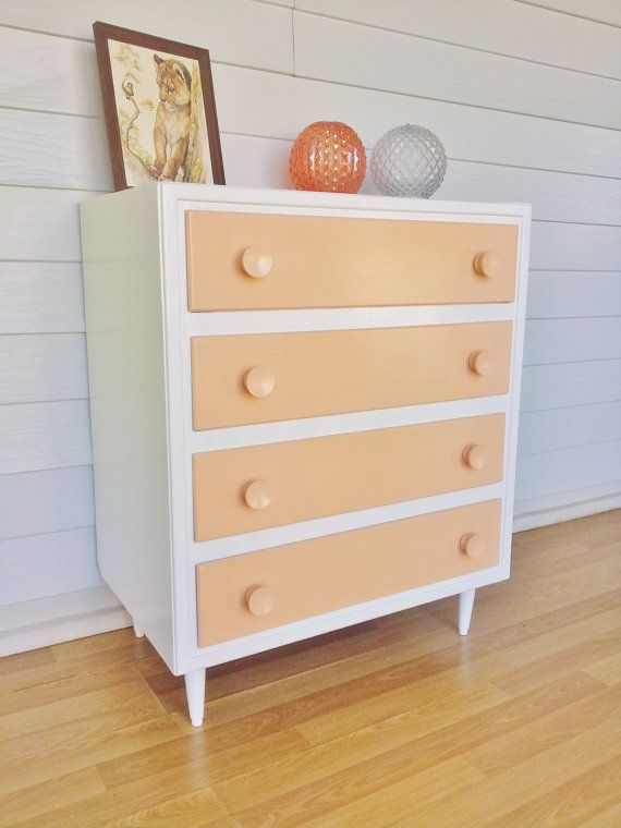 Upcycled 1950s Mid Century Dresser Pastel Peach And White