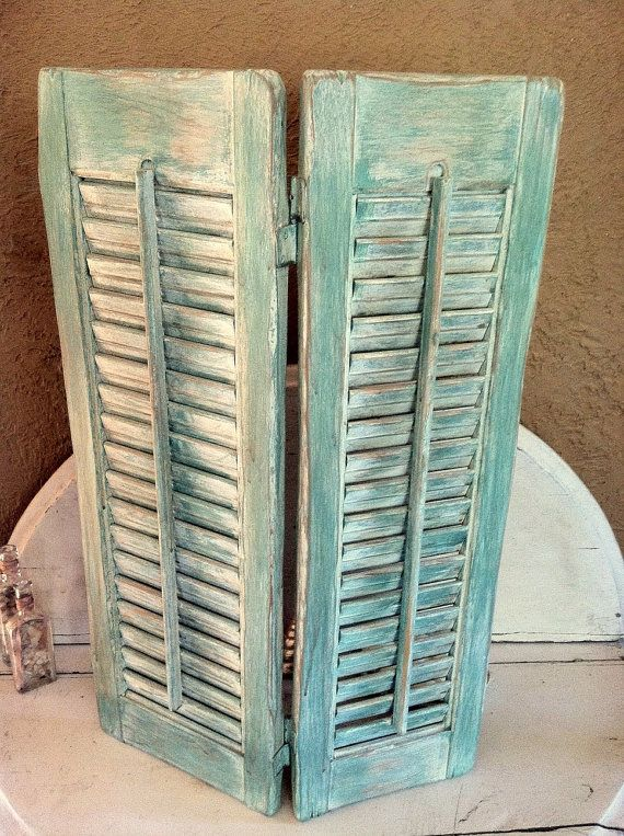 Aqua Green Shutters Seaside Decor Folding Whitewashed Beach Cottage