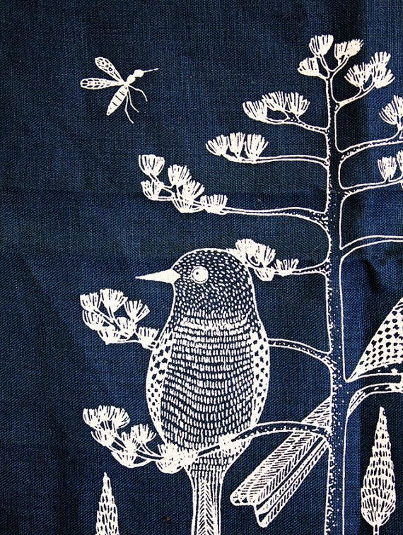 CACTUS WREN wall art by bookhouathome. This isn't embroidery, but it's embroidery inspiration for me.