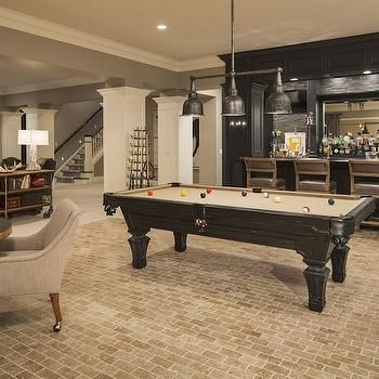 Spacious Basement With Pool Table U0026 Bar | Martha Ou0027Hara Interiors