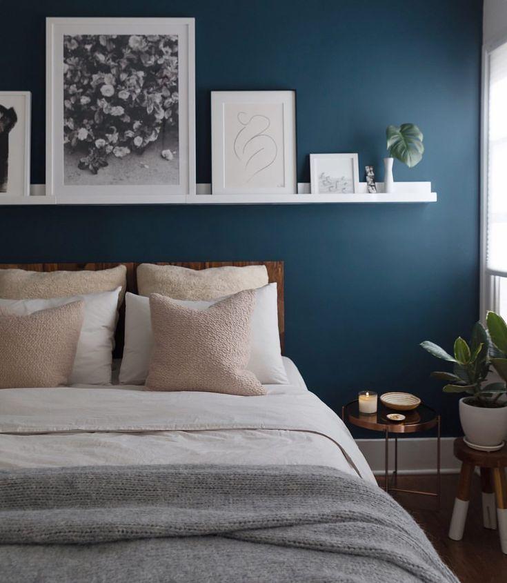 I Love This Simple Idea Dark Wall White Shelf And Wall Art