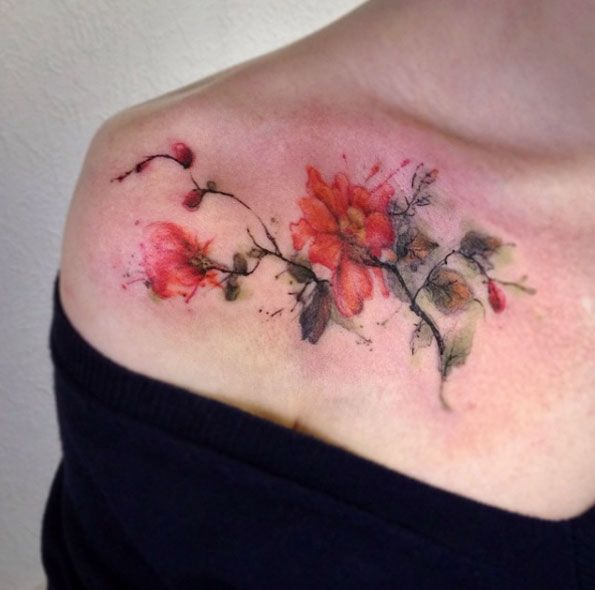 Watercolor Floral Tattoo by Anton