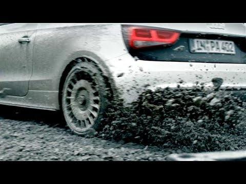 Gymkhana drifting Audi A1 quattro at Audi Gebrauchtwagen