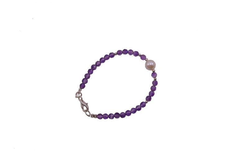 Βραχιόλι με αμέθυστο και μαργαριτάρι - Bracelet with hematite and fresh water pearl