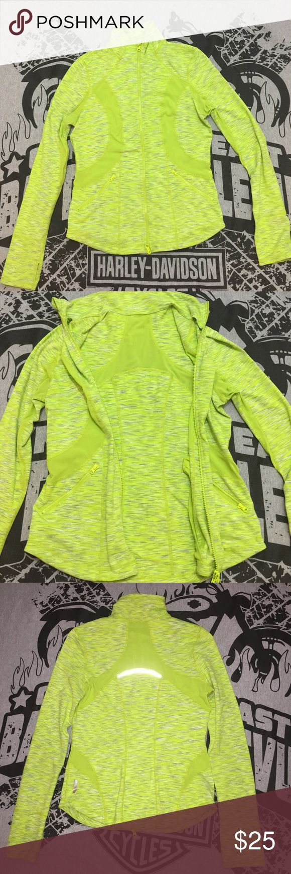 Zella Neon Green Zip Up Light Mesh Jacket M Super light, Mesh, thumbhole zip up jacket in rip free condition. One tiny pen dot on front of jacket.Smoke and pet free home. Size medium. Too big for this girl. Recently laundered, hung to dry. Zella Jackets & Coats