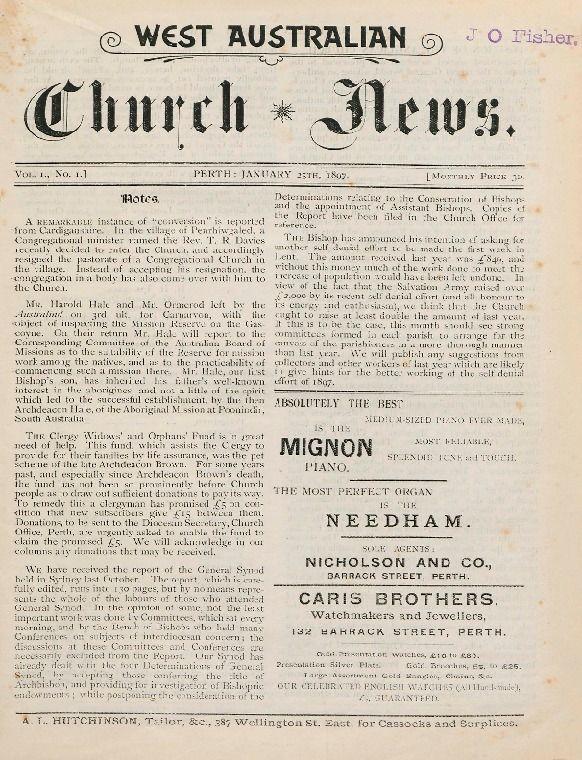 West Australian Church news, 1897.  http://encore.slwa.wa.gov.au/iii/encore/record/C__Rb1427790__Swest%20australian%20church%20news__P0%2C1__Orightresult__U__X8?lang=eng&suite=def