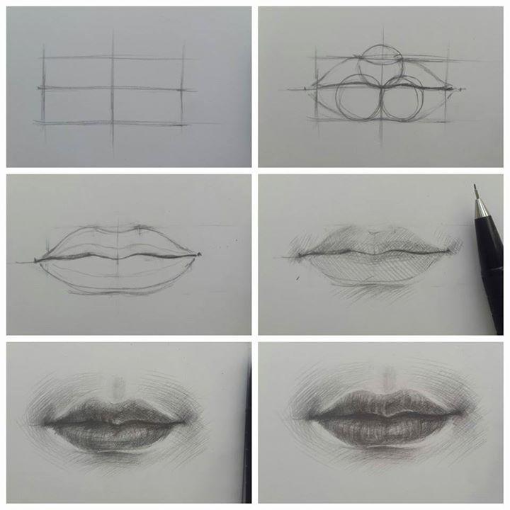 Нарисовать губы карандашом поэтапно картинки