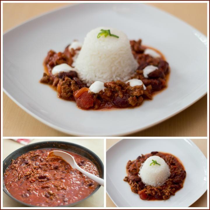 Chilli con carne, rýže