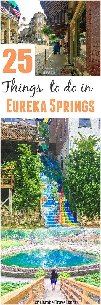 EUREKA SPRINGS: 25 Things to Do /  Visit this American Historic City in the Ozark Mountains, Arkansas. Best places to see include Blue Spring, Rainbow Staircase and Downtown in Spring Street. For more places to see click on the link. - by Christobel Travel #bluespring #arkansas #eurekasprings