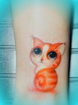Kitty tattoo, orange #cat #tattoo
