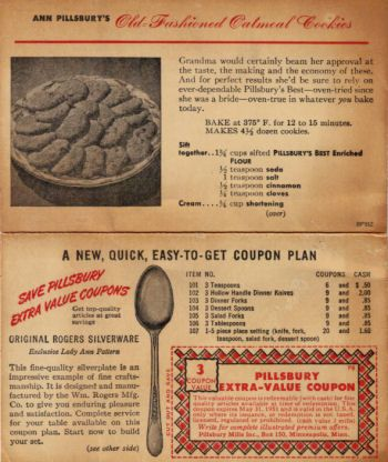 Old Fashioned Oatmeal Recipe Card - This is an Ann Pillsbury recipe card published in 1951