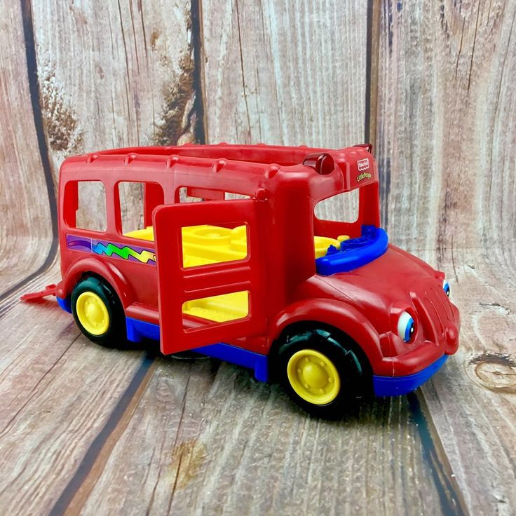 Fisher Price Little People Bus Red Blue Yellow Lights Flash no sounds kids toy