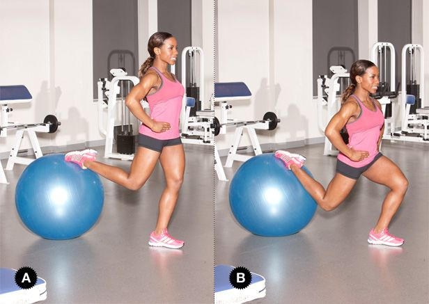 Great Glutes in 20 Minutes: 3. Bulgarian Split Squat w/ Ball (3 sets of 8-10 reps on each leg) Target- gluteus maximus, quads, hams