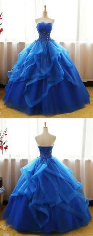 Royal Blue strapless organza long prom gown with waist beading 0899