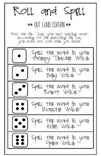 Add some humor to spelling practice by using funny voices to spell. Roll and Spell free printable. language arts