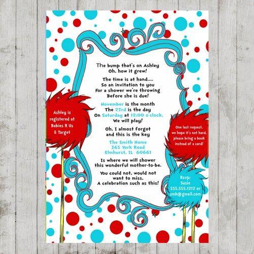 Dr. Seuss Lorax Baby Shower Invitation | PrintablePartyDesigns - Digital Art  on ArtFire