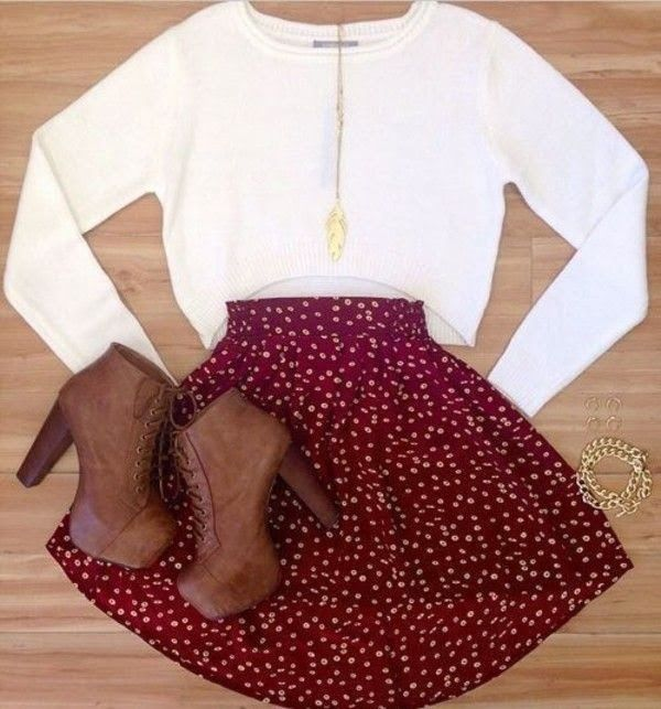 Red skater skirt with polka dots, white sweater, brown boots