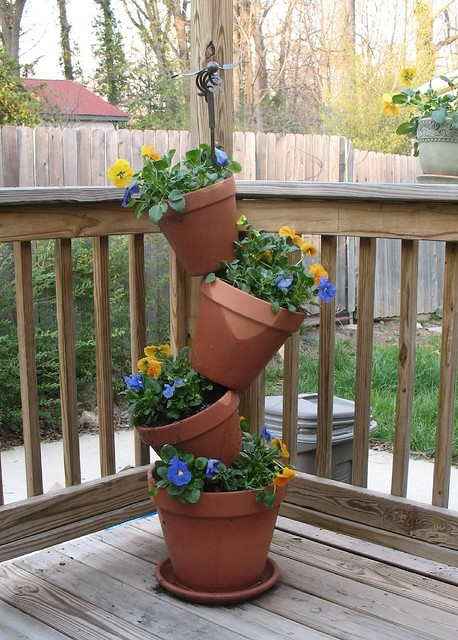 Great way to grow veggies and herbs upwards in small garden or patio area