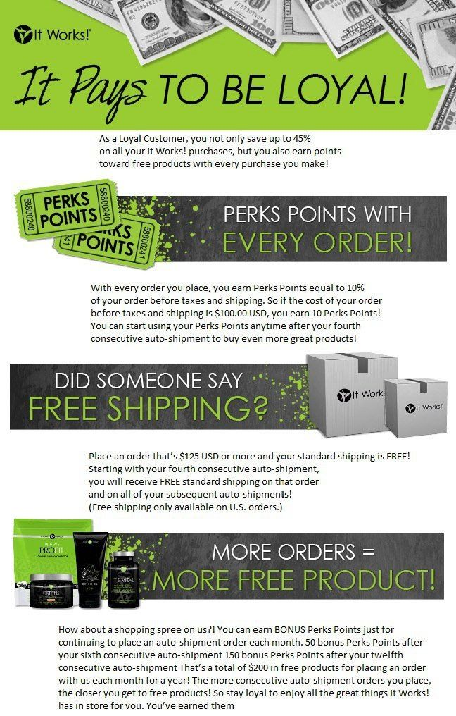 Become an It Works Loyal Customer | It Works! It pays to be loyal. Visit http://ashraywrapstar.com