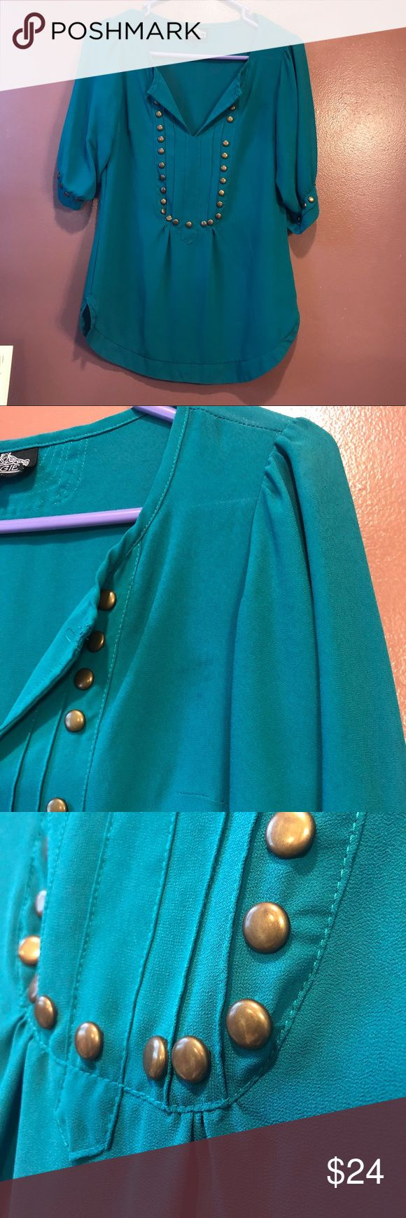 Boutique Teal Blouse Lovely Angie Brand Small Teal Top, in good Used Condition there is a few spots (see pics) that it just needs to be rewarded.. I used wrong washing detergent for the material... no liquid-FYI! Lol Angie Tops Blouses